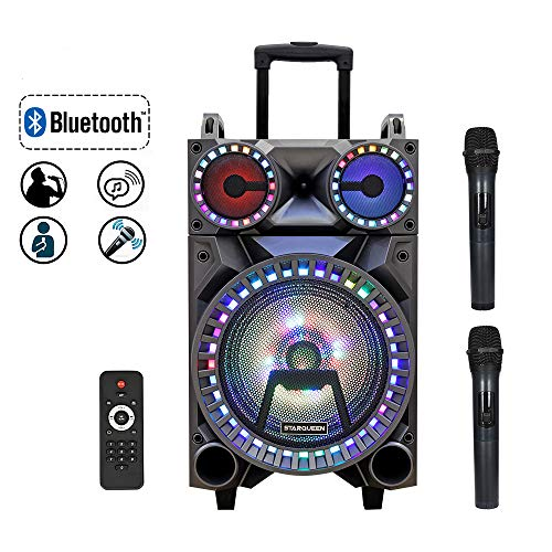 Starqueen Portable Bluetooth Speaker 10 Inch Woofer Dual 3 Inch Tweeter,Rechargeable PA System with 2 Wireless Microphone/Wheels/DJ Lights,Karaoke Party Amplifier Sound System with AUX/FM/Radio/TF