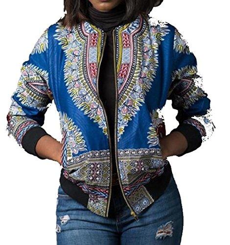 Short African Biker Jacket Zipper Bomber Light Blue Print Coats Womens Classic Gocgt X8q5Cxw1W