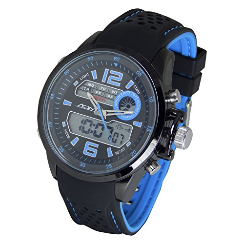 American Design Machine Men's 'St. Louis' Quartz Stainless Steel and Silicone Sport Watch, Color Black (Model: ADS 4006 BLU) by American Design Machine