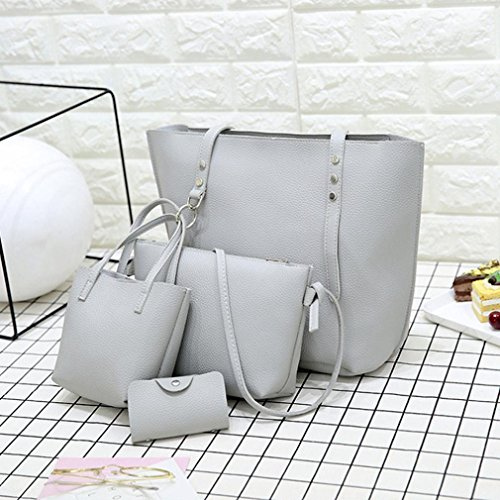 Handbag Set VJGOAL Wallet Shoulder Gray Crossbody Women Pattern 4Pcs Gift Bag Leather Bag vByv8Hwq
