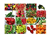 Please Read! This is A Mix!!! 30+ ORGANICALLY Grown Hot Pepper Mix Seeds, 16 Varieties Heirloom Non-GMO Habanero, Tabasco, Jalapeno, Yellow and Red Scotch Bonnet, Ships from USA