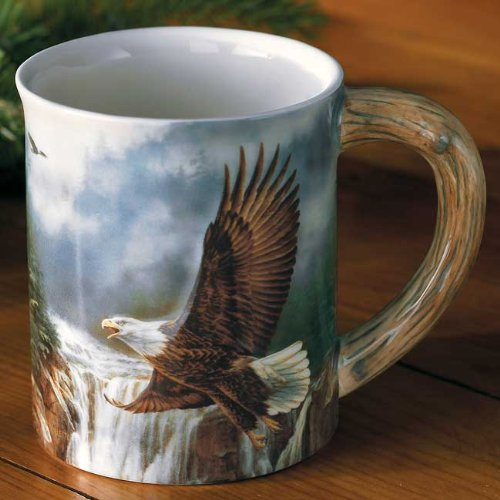 Wild Wings Bald Eagle Sculpted Mug by Rosemary Millette, Brown, 4-1/2