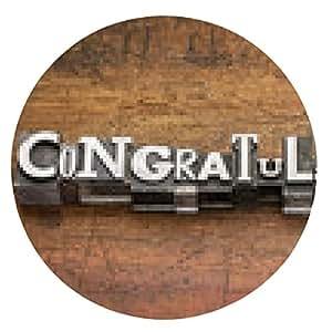 alfombrilla de ratón felicitaciones en el tipo de metal - ronda - 20cm