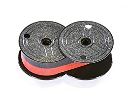 Top of the line universal black/red printing calculator ribbon spools with the darkest ink in the industry. (12-pack) Genuine Monroe