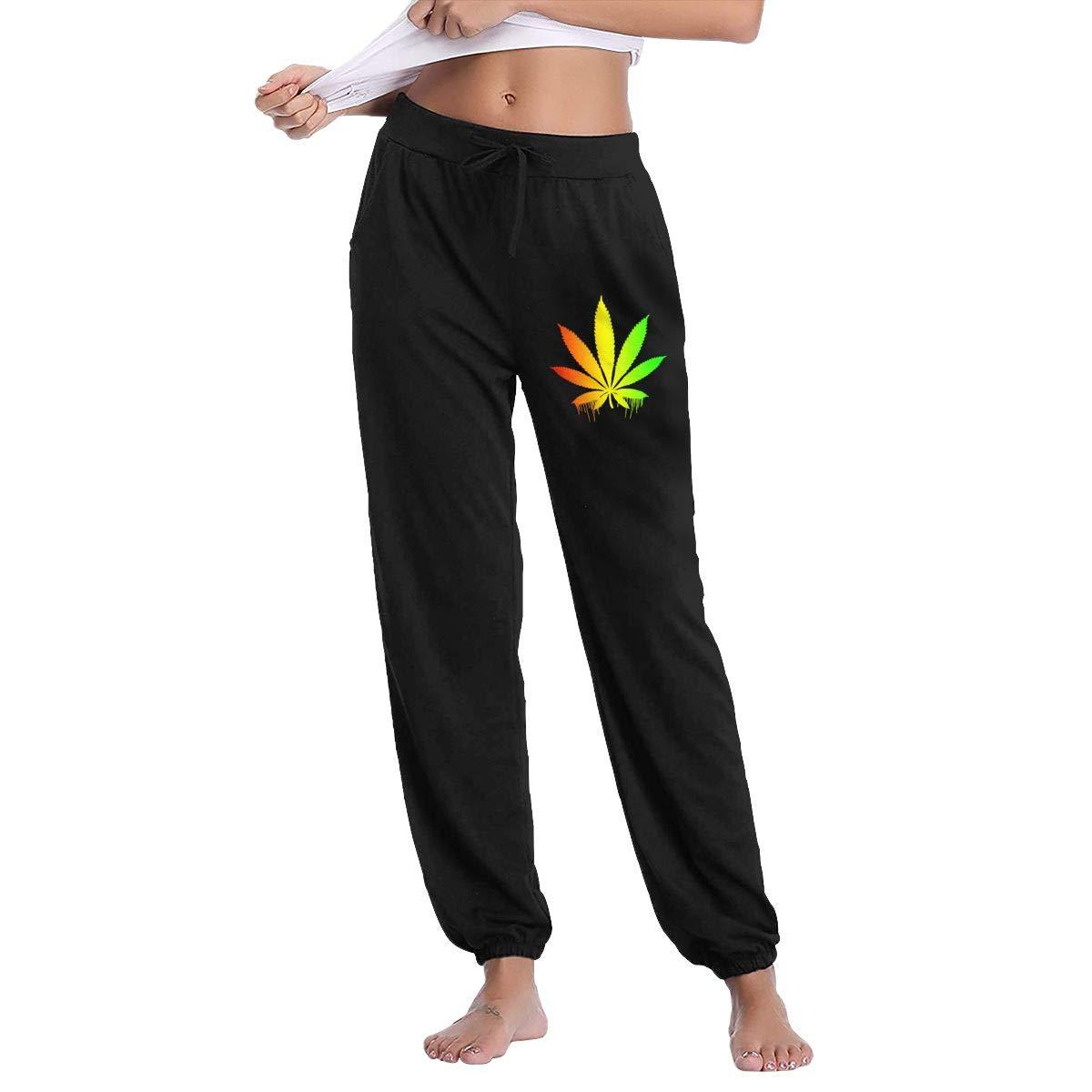 Rasta Pot Leaf Marijuana Dripping Women's Sweatpants Jogger Pants with Pockets
