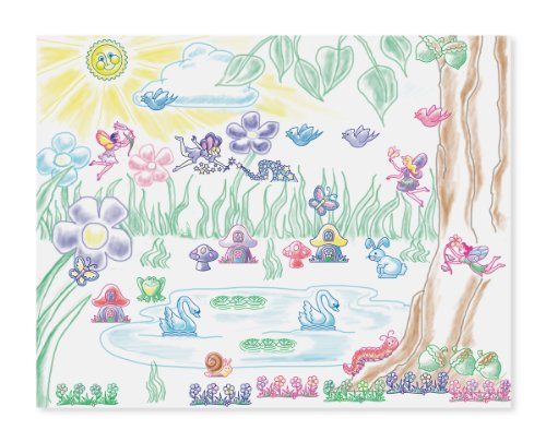 51JYhqOeCvL - Melissa & Doug Stamp-a-Scene Stamp Pad: Fairy Garden - 20 Wooden Stamps, 5 Colored Pencils, and 2-Color Stamp Pad