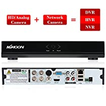 KKmoon 4CH Channel Full 1080N/720P AHD DVR HVR NVR HDMI P2P Cloud Network Onvif Digital Video Recorder support Plug and Play Android/iOS APP Free CMS Browser View Motion Detection Email Alarm