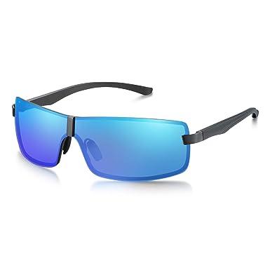 guter Service Verkauf Einzelhändler großer Rabattverkauf WHCREAT Randlose Sonnenbrille mit polarisiertem Schirm Einteilige flache  Spiegelbrille mit Federscharnieren UV400-Schutzglas für Herren