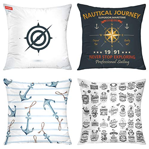 - HAPPYOME Set of 4 Decorative Throw Pillow Covers Mom Day Quote Nautical Compass Rose Art Black Map Marine Maritime Navigation Series Pillow Case Cushion Cover for Bedroom Livingroom Sofa 18X18 Inches