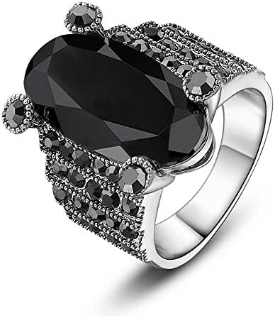 Mytys Vintage Cut Oval Onyx and Marcasite Crystal Cocktail Rings
