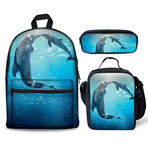 Lovely Ocean Dolphin Kiss Backpacks Set 3 Pieces Lunch Bag Pen Bag for Kids Back to School Lightweight Daypack for Boys Girls