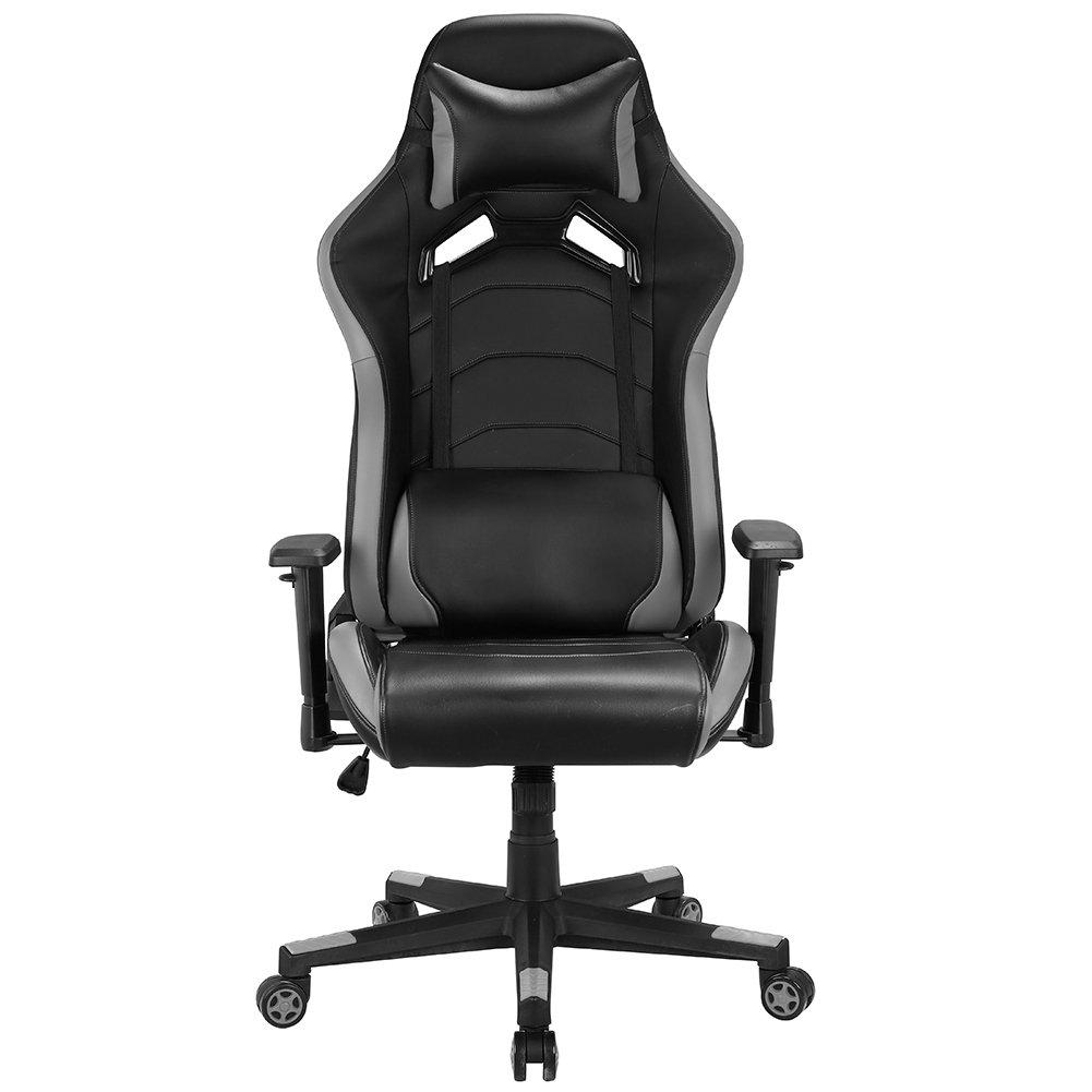 IntimaTe WM Heart Gaming Stuhl, Höhenverstellbar Gamer Stuhl Schreibtischstuhl Bürostuhl Computerstuhl Racing Stuhl Sportsitz Chefsessel Drehstuhl mit Verstellbare Armlehnen und Kissen (Grau)