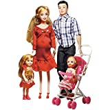 Elatany Family Dolls Set of 5 with Dad Pregnant Mommy Daughters and Baby in Tummy for Education and Children's Day