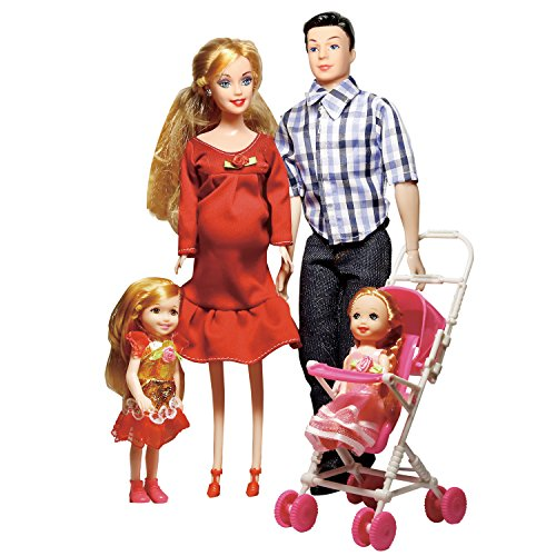 Elatany Family Dolls Set of 5 with Dad Pregnant Mommy Daughters and Baby in Tummy for Education