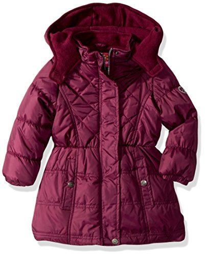 Pink Platinum Girls' Little Multi Quilted Long Puffer, Magenta, 4