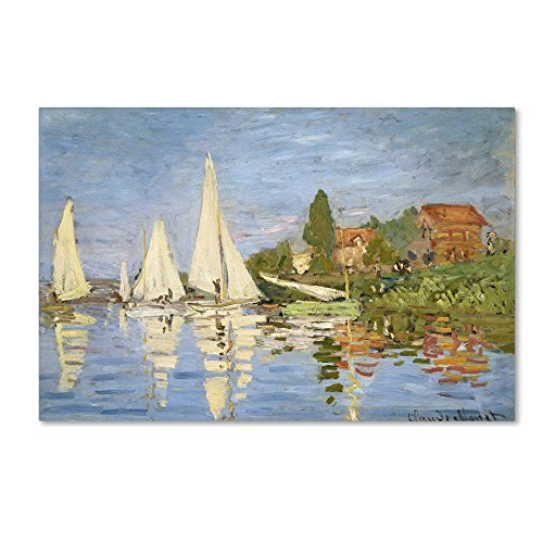 Regatta at Argenteuil by Claude Monet work, 30 by 47-Inch Canvas Wall ()