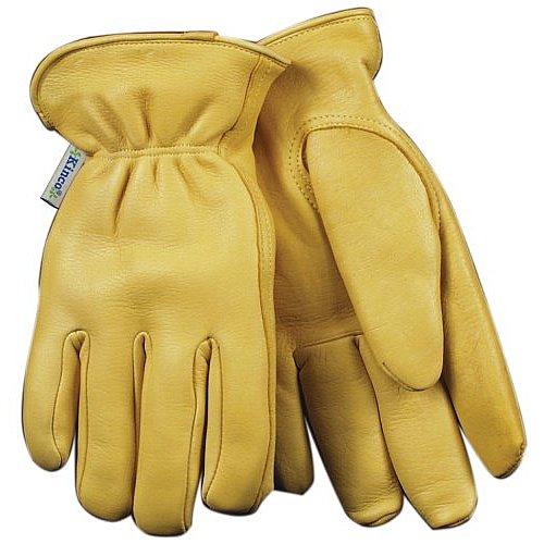 KINCO 90HKW-S Women's Lined Grain Deerskin Gloves, Heat Keep Lining, Double Shirred Elastic Back, Small, Golden
