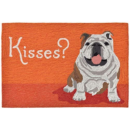 Liora Manne Frontporch Pet Dog Kiss Wet Dog Bulldog Indoor/Outdoor Rug 2' X 3' Orange
