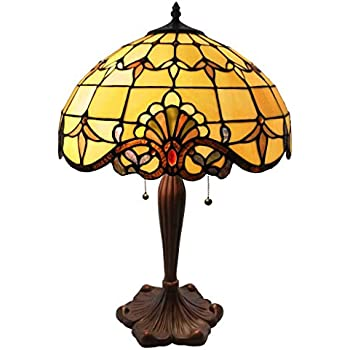 Tiffany Style Stained Glass Table Lamp: 24 Inch Victorian Style Colorful  Allistar Accent Lamp With