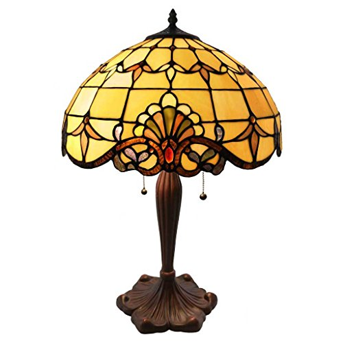 - Tiffany Style Stained Glass Table Lamp: 24 Inch Victorian Style Colorful Allistar Accent Lamp with Vintage Bronze Base and Sea Shell Shade - High-End, Decorative Table Lamps for Small Home Decor - Amber