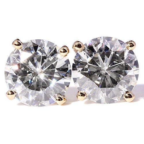 Earring Vs1 (TransGems 2 CTW Moissanite Lab Diamond Stud Earrings Push Back in 18K Yellow Gold for Women (GH Color))