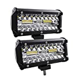 7in LED light Bar, Flood Security Lights Led Spotlight Off Road Lights Fog Driving Lights Led Work Lights for SUV Jeep Boat Truck- 2Pcs 6500K Cold White Light
