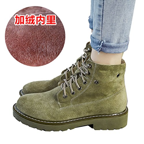 Abby 803 Womens Comfort Flat Work Job Flat Cowhells Outsole Lace Up Leather Combat Warm Winter Martin Boots Green(wool Inner) qwTJ9GIa