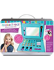 Make It Real - Deluxe Cosmetic Case. This Girls Makeup Kit is a Perfect Starter Cosmetic Set for Kids and Tweens. Includes Case, Mirror, Eye Shadow, Blush, Brushes, Lip Gloss, Nail Polish and More