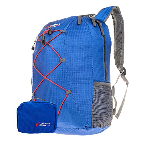 Lightweight Blue Packable Daypack Backpack, EZ Pack Unpack Ideal for Casual Hiking (Rei Daypack)