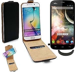 TOP SET: Caso Smartphone para Wiko Darkmoon cubierta del estilo del tirón 360°, negro + anillo protector, cubierta del tirón - K-S-Trade (TM)