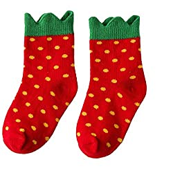 Beauty Nymph 2pairs Lovely Rural Cotton Short Socks for Girls Super Cute Socks for Kids (L:(7-10years), Bright Red)