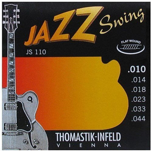 Thomastik-Infeld JS110 Jazz Guitar Swing Series 6 String Set - Pure Nickel Flat Wounds E, B, G, D, A, E Set