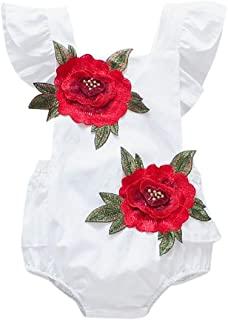 Baby Romper, Tensay Toddler Baby Girls Fly Sleeve Floral Embroidery Print Ruffles Newborn Jumpsuit