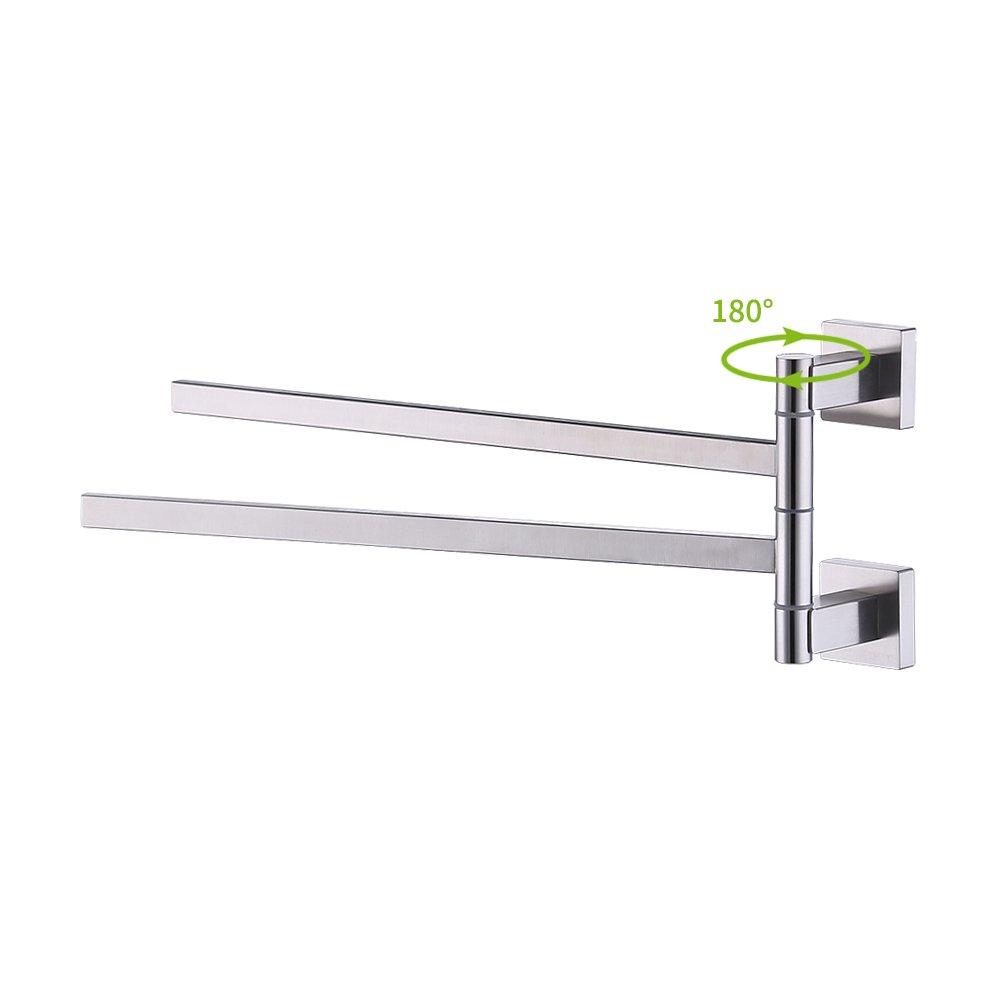 Kes Bath Towel Holder Swing Hand Towel Rack SUS 304 Stainless Steel Bathroom Swivel Towel Bar 2-Bar Folding Hanger Holder RUSTPROOF Wall Mount Brushed Finish, BTH203S2-2 by Kes