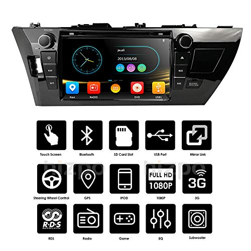 9 inch Touch SCRRN for Toyota Corolla 2014 2015 2016 Car Video Player GPS Stereo iPhone Music/AM FM Radio/SWC/Bluetooth/3G/AV-IN Map Card Mirrorlink (for Android Phone)