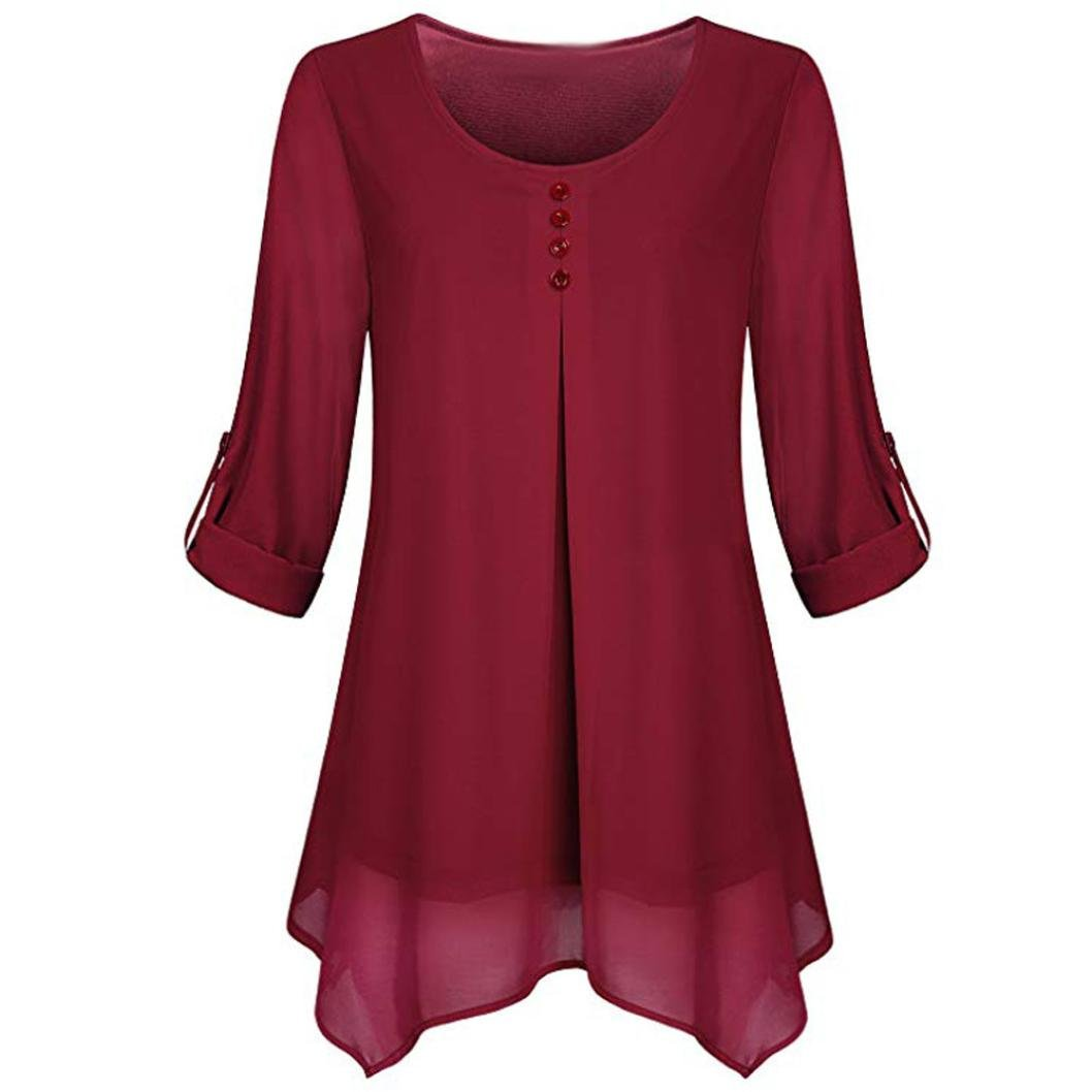 Women Roll-up Long Sleeve Shirt O-Neck Solid Flowy Chiffon Top Casual Pullover(Wine,medium)