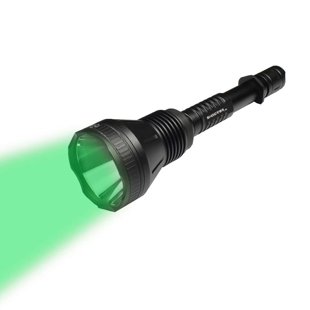MAXTOCH Hunting Flashlight Tactical Torch Green Beam 320lm, Cree XP-E2 R2 Green LED, 850m+ Distance with 3 Modes, IPX8 Waterproof, Green, Set 4
