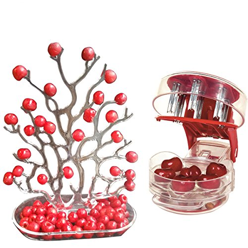 (NewFerU Table Plastic Party Food Storage Holder Coral Desk Decoration Organizer Display Stand with Cherry Pitter Machine Pit Corer Remover Tool for 6 Cherries,Olives,Plums,Berries (Tree Fruit Seeder))