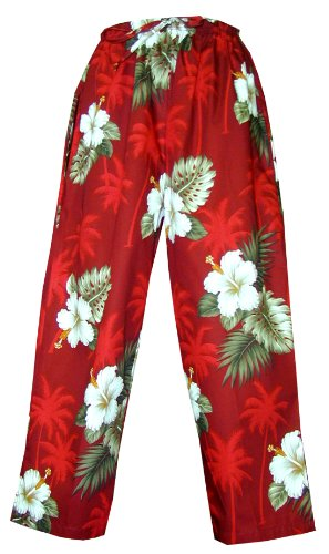 - Pacific Legend Womens White Hibiscus Monstera Capri Pants in Red - XL