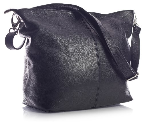 Italian 30x25x14 Bag In Cm Bhbs Women Leather Black Medium Shoulder Black For wxhxd Self UwAn0UBzqx