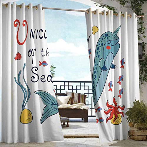 (DILITECK Grommet Outdoor Curtains Narwhal Colorful Narwhal Swimming with The School of Fish Unicorn of The Sea Inscription Waterproof Patio Door Panel W108 xL84 Multicolor )