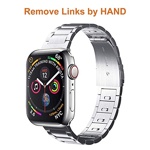 EloBeth Compatible with Apple Watch Bands Series 4 3 2 1 iWatch Band 42mm 44mm Men Stainless Steel Metal Band (42mm&44mm Silver)