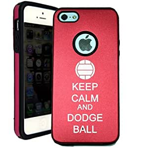 SudysAccessories Keep Calm And Dodge Ball iPhone 5 Case iPhone 5G Case - MetalTouch Red Aluminium Shell With Silicone Inner Protective Designer Case