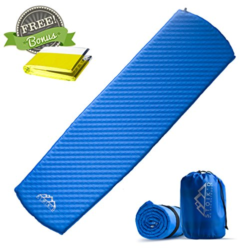 Premium Self Inflating Sleeping Pad - w/ FREE Emergency Blanket - Lightweight, Insulated, Compact, Durable & Water Resistant. Comfortable Self-Inflating Camping Pad for Camping, Backpacking or Hiking.