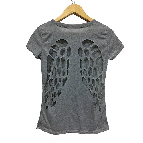 ZHUOTOP Women Short Sleeve Hollow Angel Wings Blouse Tops Loose T Shirt Gray & L (Angel Blouse)