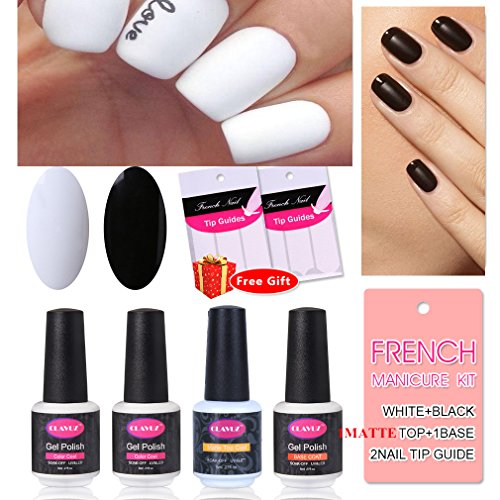 French Manicure Nail White Black Matte Nail Polish Gel Matte Top Coat and Base Coat DIY Nail Art at Home Free Nail Sticker by CLAVUZ (Halloween Black And White Nails)