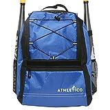 Athletico Youth Baseball Bat Bag - Backpack for Baseball, T-Ball & Softball Equipment & Gear for Kids & Youth | Holds Bat, Helmet, Glove | Fence Hook (Blue)