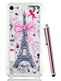 iPod Touch 6 Case,iPod Touch 5 Case Glitter,CAIYUNL Liquid Bling Sparkle Clear Cute TPU Kids Girls Protective Cover Shockproof for Apple iPod Touch 6th Generation/iPod Touch 5th&Stylus-Pink iron Tower