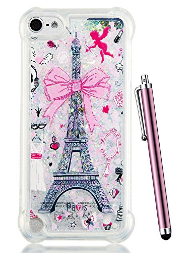 od Touch 5 Case Glitter,CAIYUNL Liquid Bling Sparkle Clear Cute TPU Kids Girls Protective Cover Shockproof for Apple iPod Touch 6th Generation/iPod Touch 5th&Stylus-Pink iron Tower ()