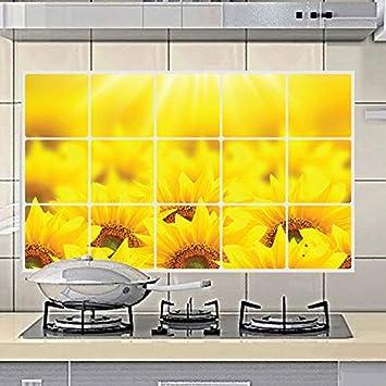 MEIWALL Estufa de gas de alta temperatura de girasol de aluminio resistente autoadhesivo impermeable de mosaico Pegatinas de pared extraíble para cocina ...